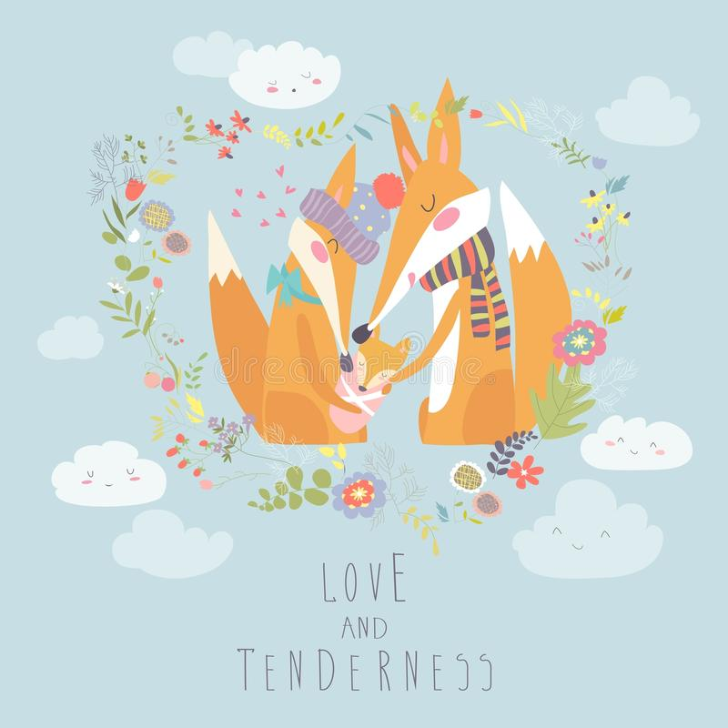 Loving fox family as a shape of a heart. Mother, father and baby child. royalty free illustration