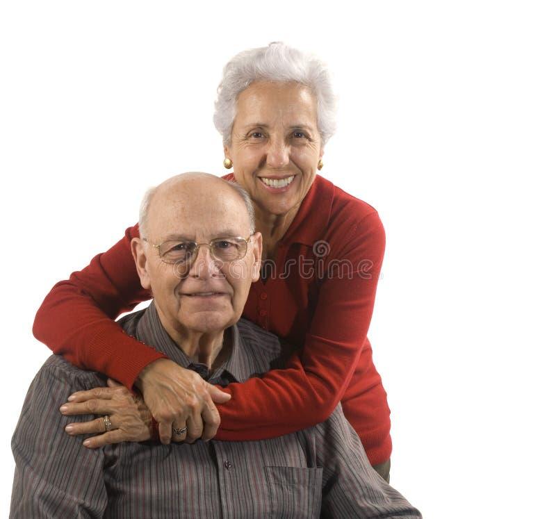 Loving, handsome senior couple royalty free stock photo