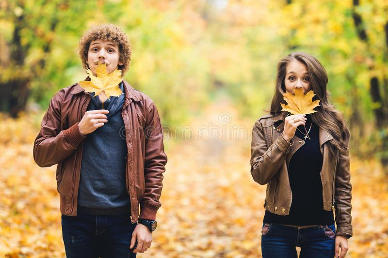 Loving happy couple in autumn in park holding autumn maple leaves in hands. Loving happy couple in autumn in park holding autumn maple leaves in hands royalty free stock photography