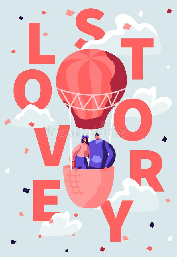 Loving Happy Couple Fly in Air Balloon in Cloudy Sky. Romantic Honeymoon Voyage, Valentine Day. Love Story Poster, Banner vector illustration