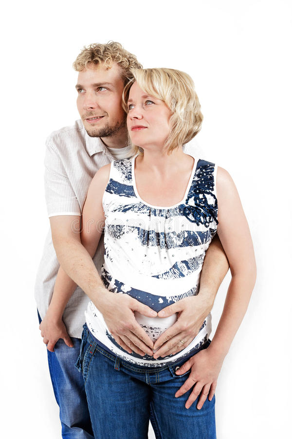 Download Loving Happy Couple, Pregnant Woman With Her Husband, Isolated On White Stock Image - Image: 33567763