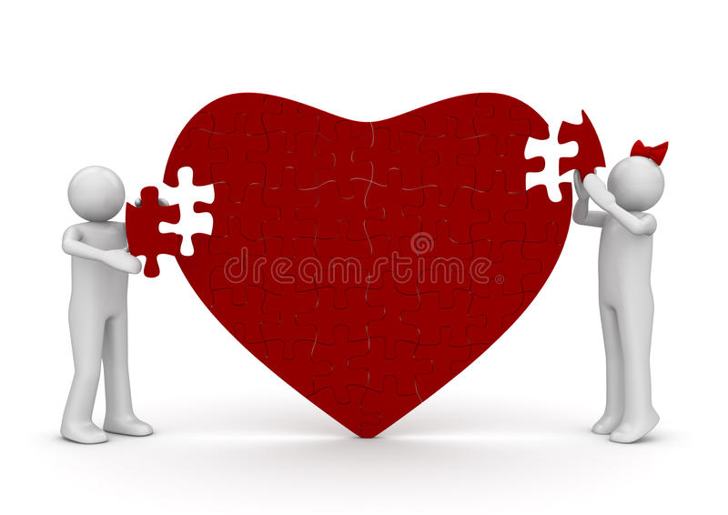 Loving heart romantic puzzle stock illustration