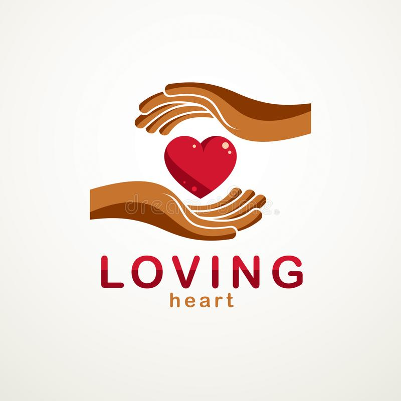 Loving Heart simple vector logo or icon created with red glossy. Heart sign and care protecting hands stock illustration