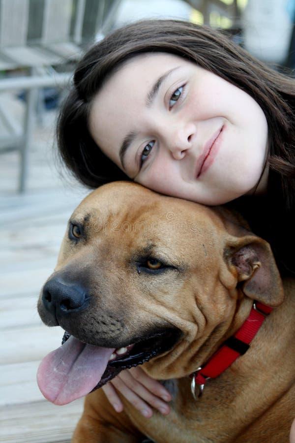 Loving Her Dog Royalty Free Stock Image