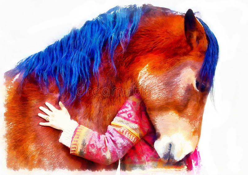 Loving horse and a girl, girl hugging a horse. computer painting effect. royalty free stock images