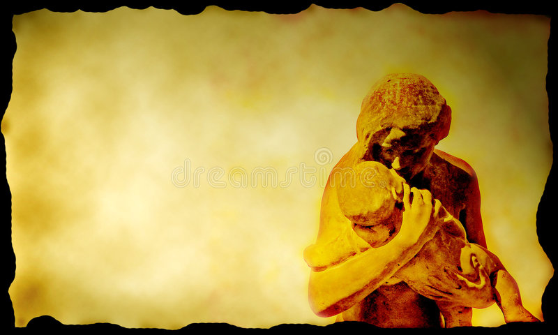 Loving hug on canvas royalty free illustration