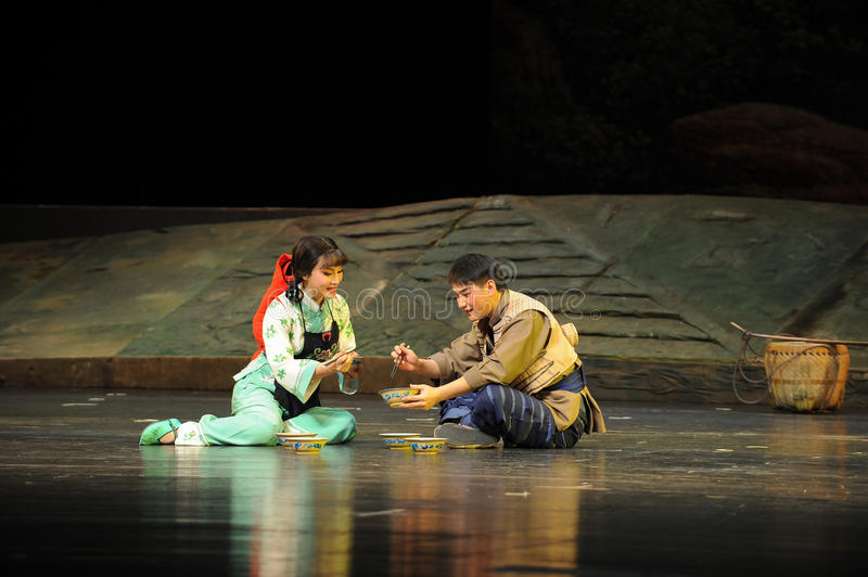 Loving husband and wife- Jiangxi opera a steelyard. Jiangxi opera a steelyard is adapted from a true story: the last century fortys, the protagonists father runs stock photo