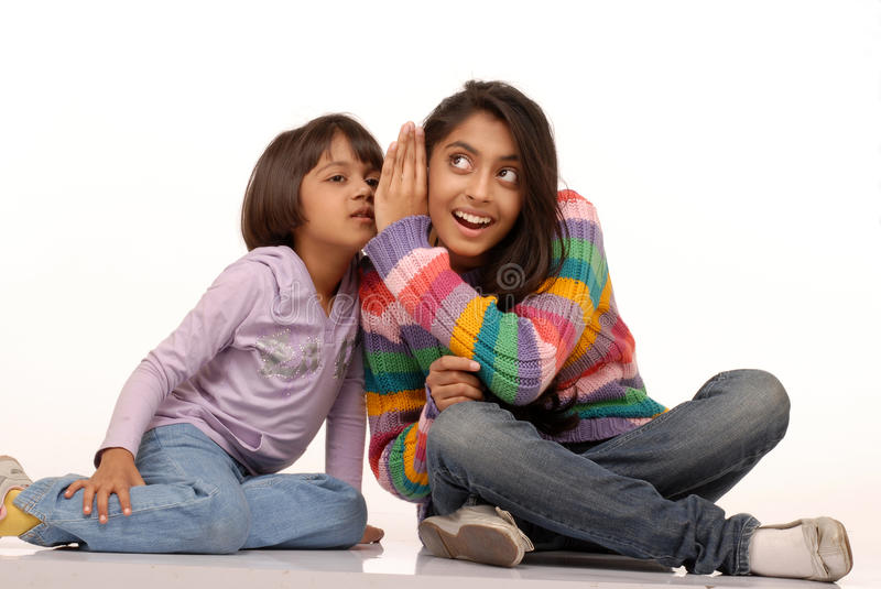 Loving indian sisters stock image