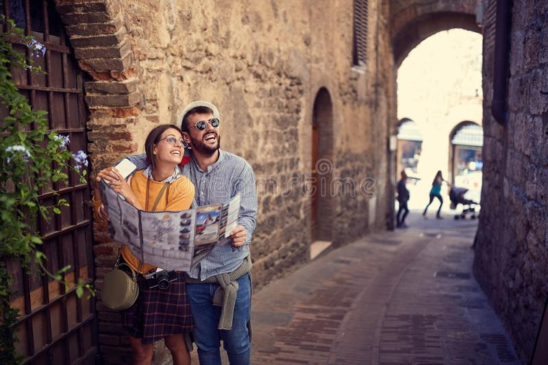 Loving man and woman enjoying in Italy together stock photos