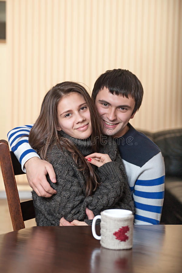 Loving man with a woman hugging royalty free stock photos