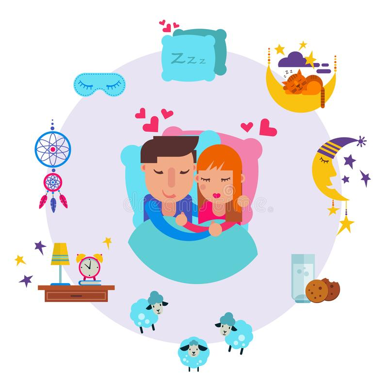 Loving man and woman sleeping together vector illustration. Young man, woman couple sleep, sweet dreams clouds, stars stock illustration