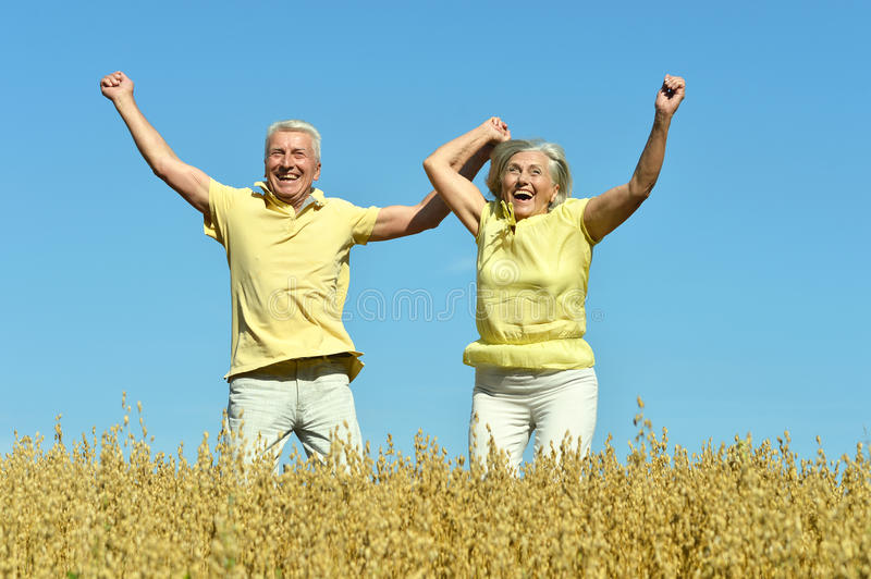 Loving mature couple in field royalty free stock photos