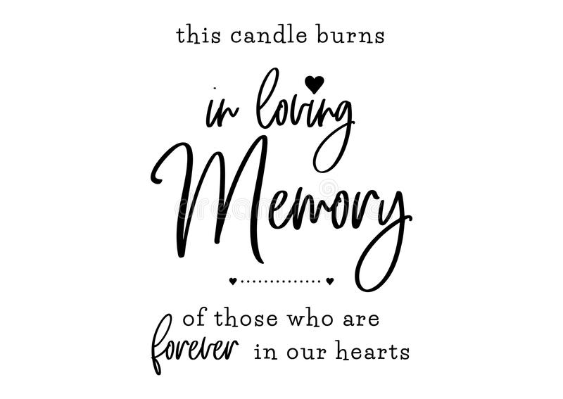 In loving memory wedding lettering royalty free illustration