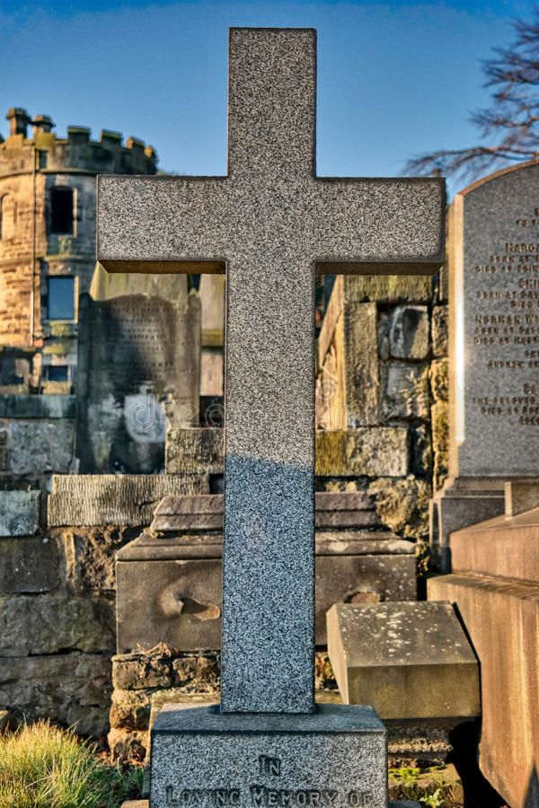 In Loving Memory. A headstone in a Scottish graveyard royalty free stock photos