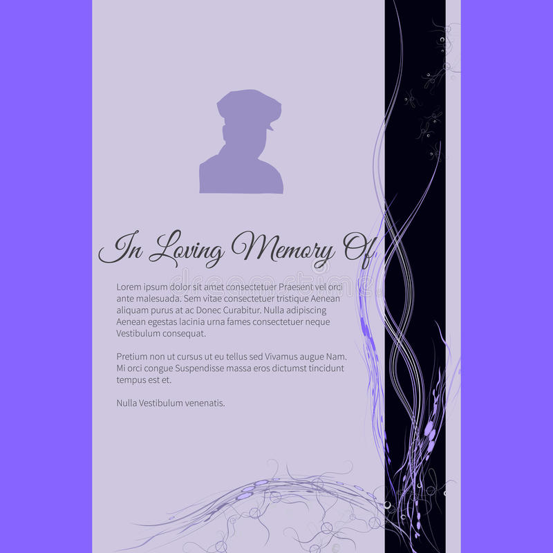 In Loving Memory Of vector lettering in abstract style, place for text and photo. Vector funeral card with elegant abstract floral motif, place for text and vector illustration