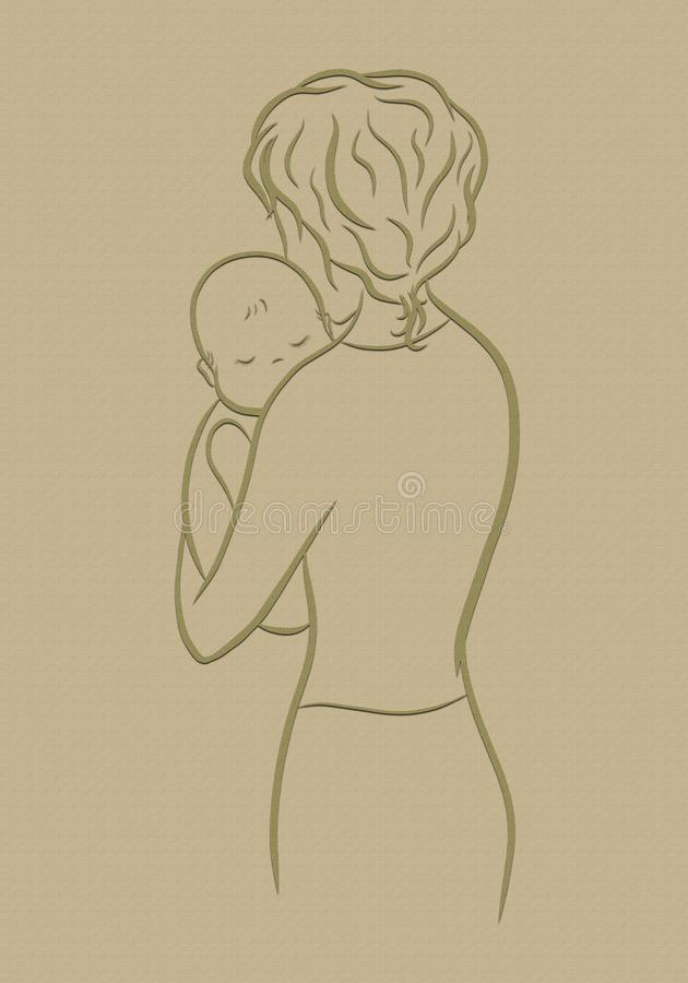 Loving mother and baby, texture vector illustration