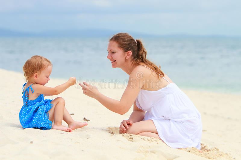 Download Loving Mother And Daughter On Tropical Beach Stock Image - Image: 16108853