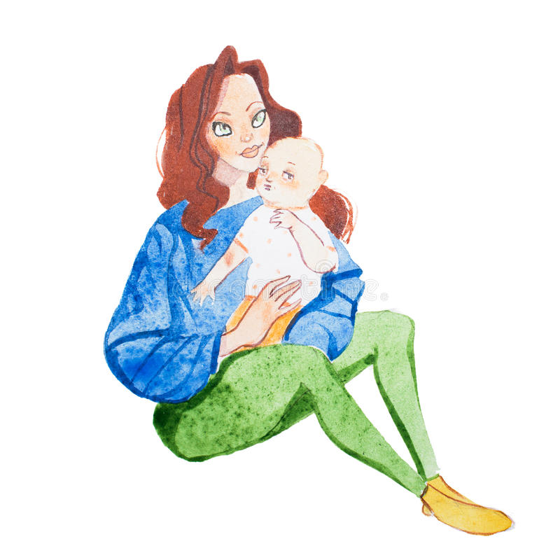 Loving mother holding babies hand drawn with watercolors.  stock illustration