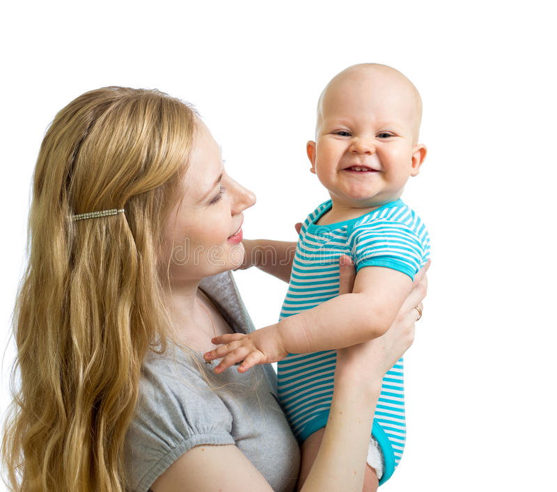 Loving Mother Holding Baby Boy Isolated On White Stock Photography