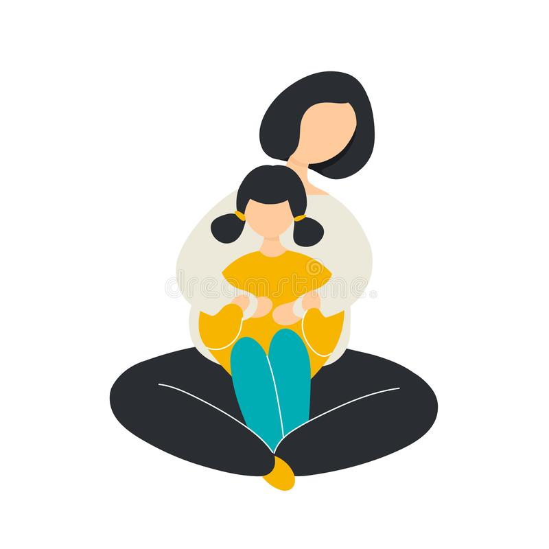 Mother hugging daughter from behind vector illustration