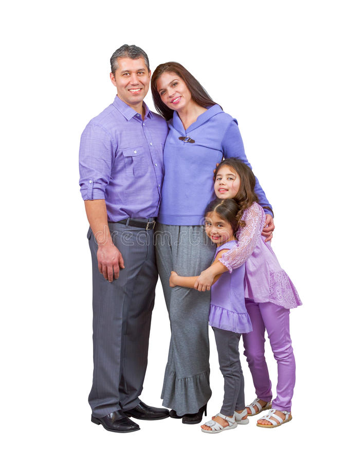 Loving multiracial family with parents and children stock images