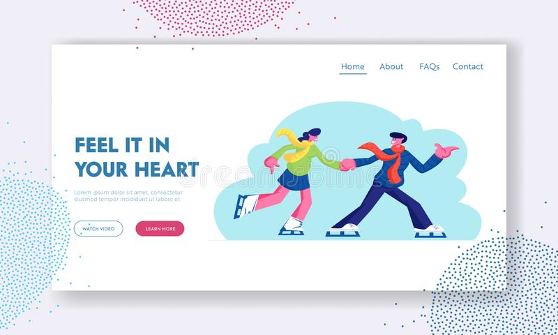 Loving Relations, Outdoors Activity Website Landing Page, Young Couple in Love Man and Woman Have Fun, Active Date Skating stock illustration
