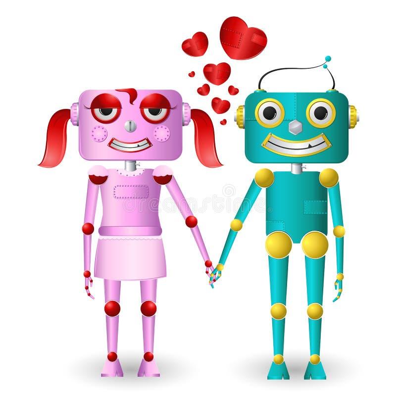 Loving Robots vector illustration