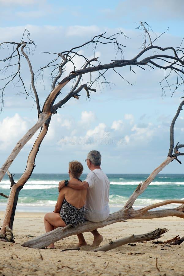 Loving senior couple on holidays stock photos