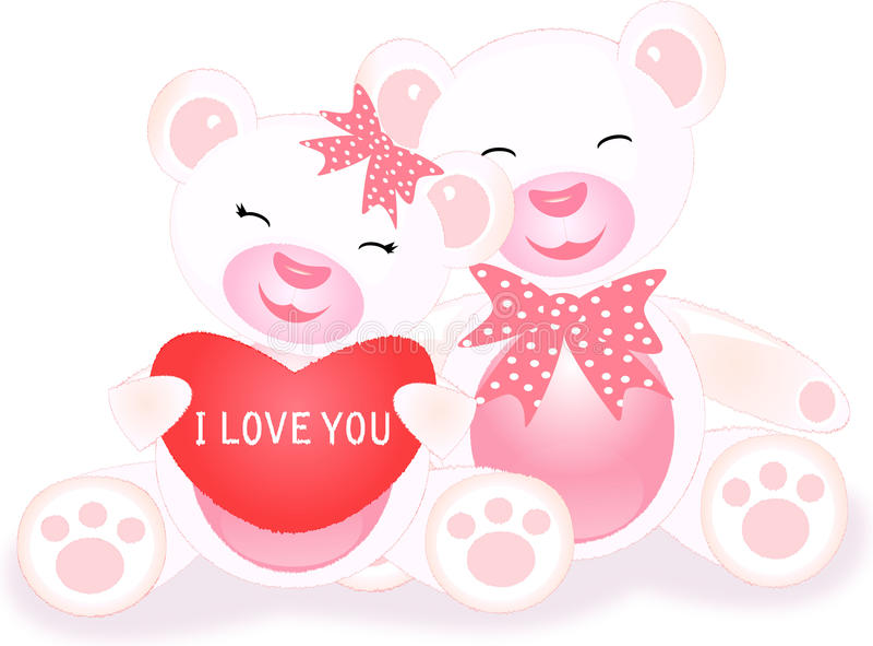 Loving Teddies With Heart Stock Photos