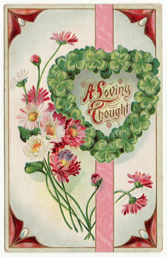 A Loving Thought Postcard 1915 royalty free stock photography