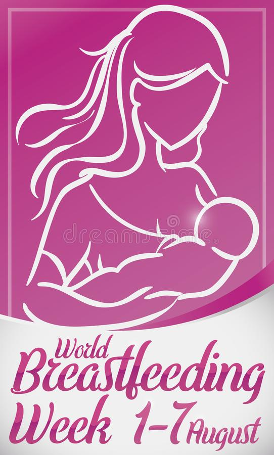 Loving Woman Lactating her Baby for World Breastfeeding Week, Vector Illustration. Tender mother lactating her newborn baby, promoting breastfeeding and care stock illustration