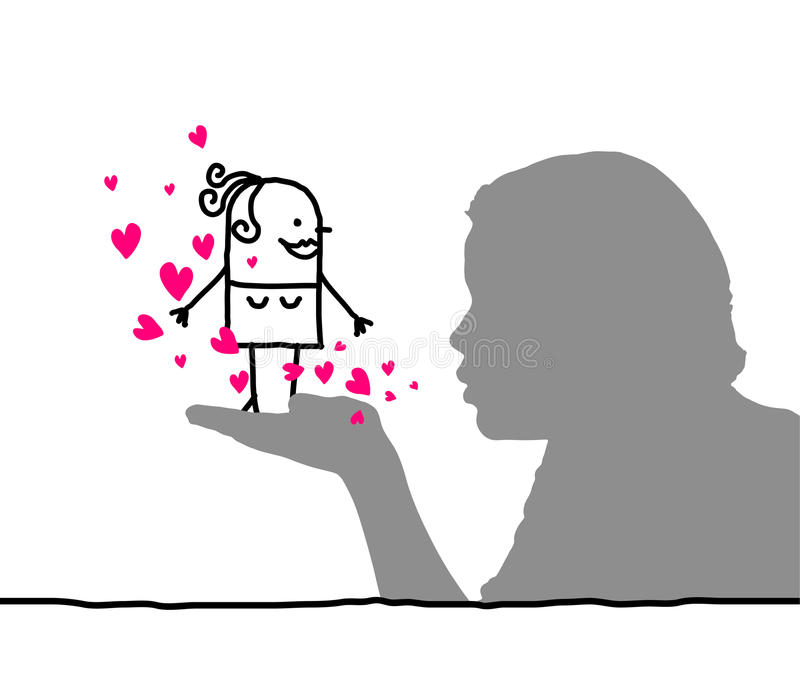 Loving Women. Hand drawn cartoon characters & human profile vector illustration