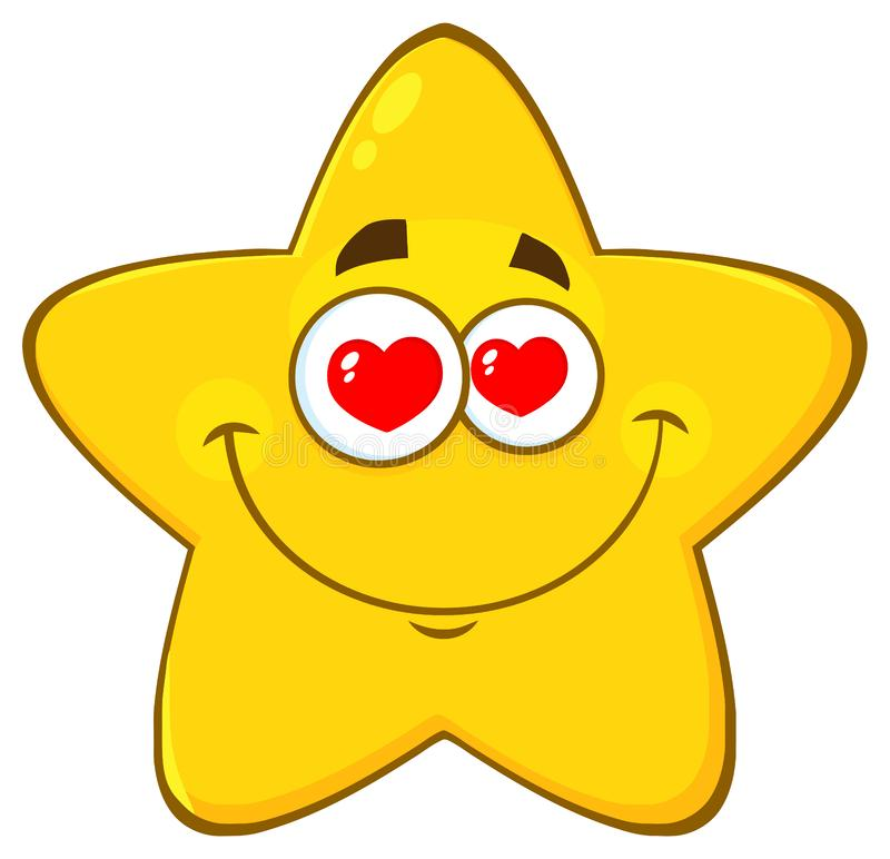 Loving Yellow Star Cartoon Emoji Face Character With Hearts Eyes. Illustration Isolated On White Background vector illustration