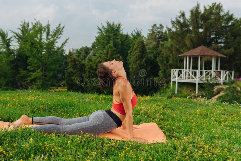 Healthy woman performing sun salutation loving yoga. Loving yoga. Healthy woman performing sun salutation while stretching her body and loving yoga stock photography