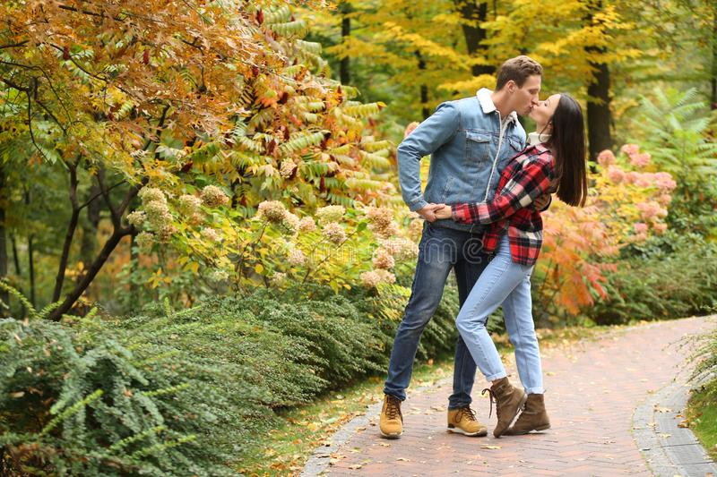 Loving young couple kissing on romantic date in autumn park royalty free stock photos