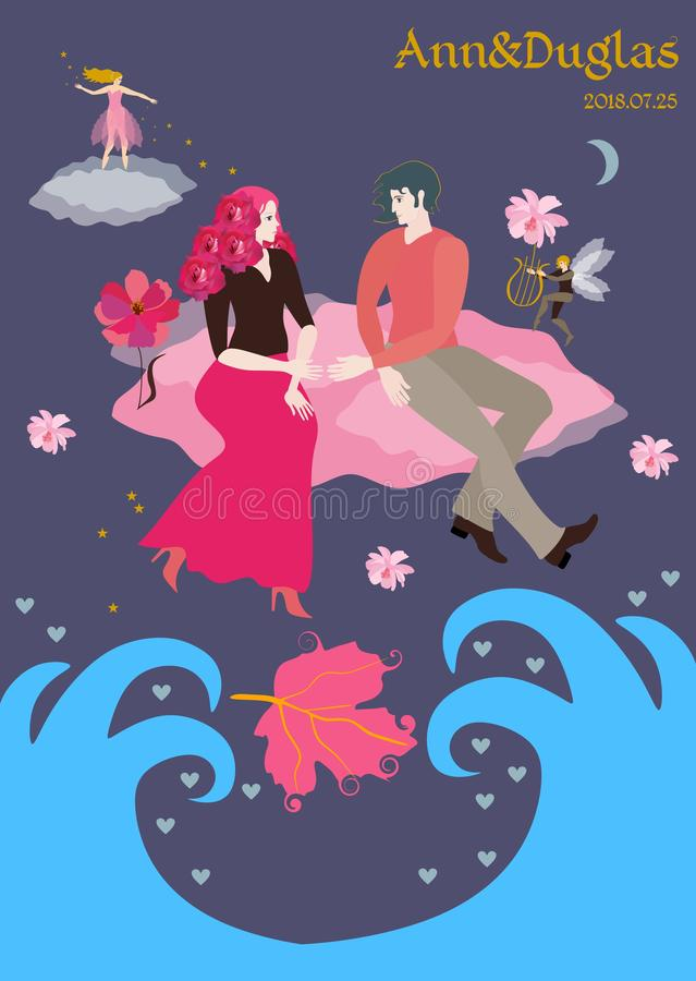 Loving young man and woman look at each other and stretch out their hands, sitting on pink cloud flying over the ocean. Little elf plays the lyre. Fairy royalty free illustration