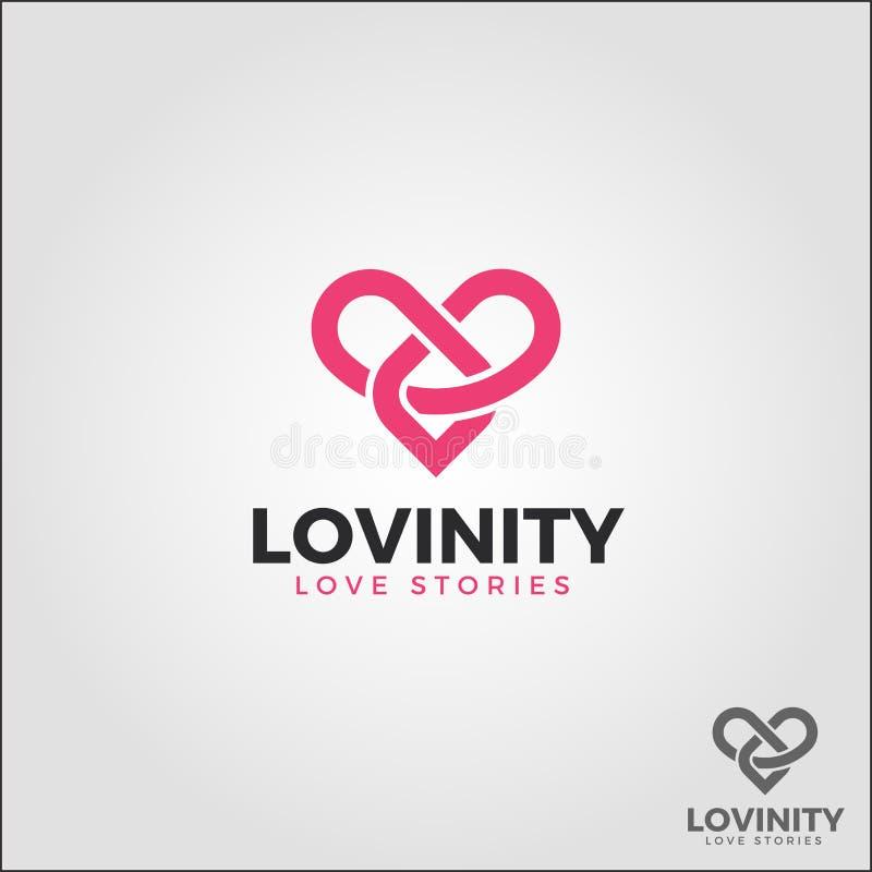 Lovinity/amore di infinito - logo eterno di amore illustrazione di stock