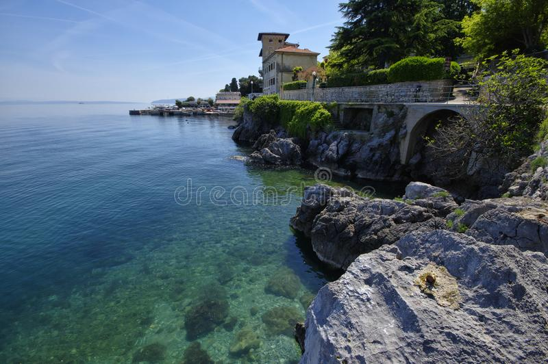 Lovran is situated on the western coast of the Kvarner Bay, Croatia stock photos