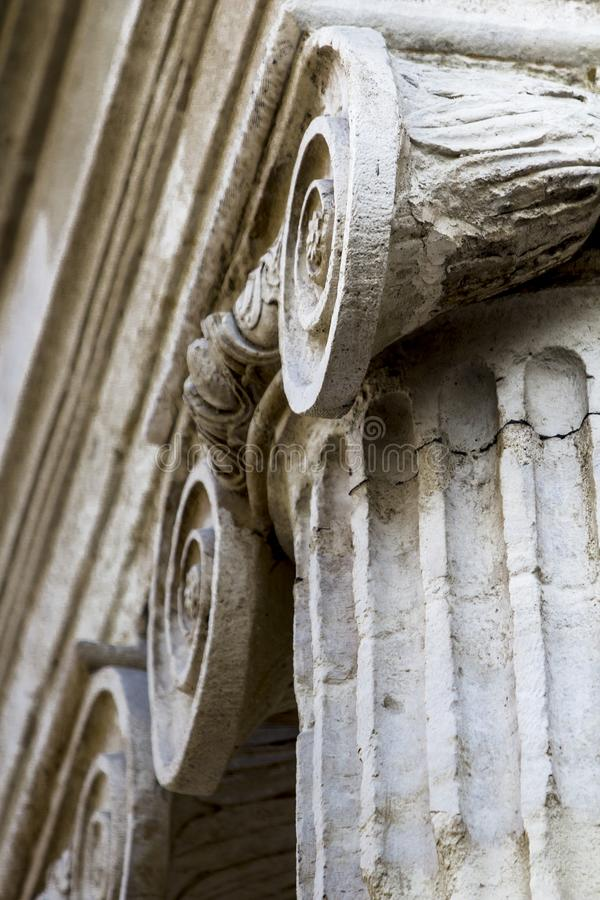 Low angle close up of ionic order column capital. royalty free stock photos