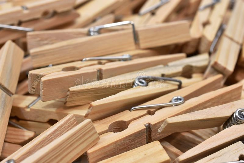 Old Wooden Cloths Pins Background royalty free stock photo