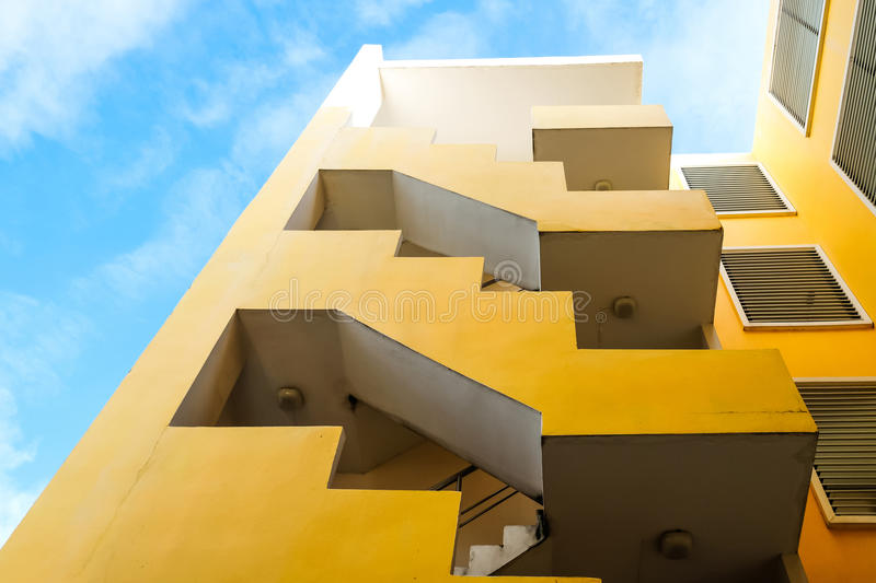 Low angle look building under blue sky stock photography