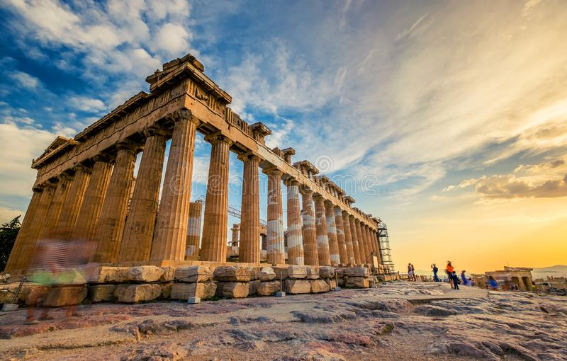 Low angle perspective of columns of the Parthenon at sunset. Acropolis, Athens royalty free stock photos