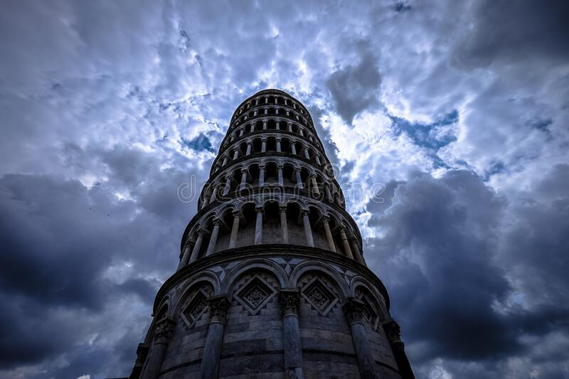Low Angle Photo of Grey Concrete Tower stock photography