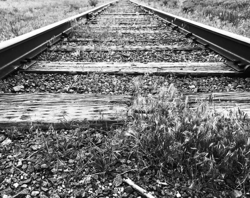 Railroad tracks in black and white low angle stock photography
