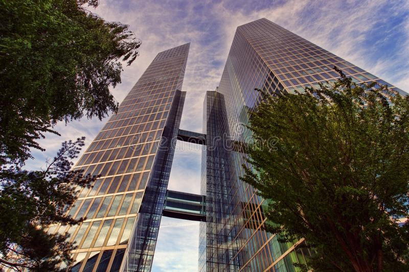 Low Angle Photo of Two Clear Glass Skyscrapers Under Clear Blue Sky royalty free stock photos