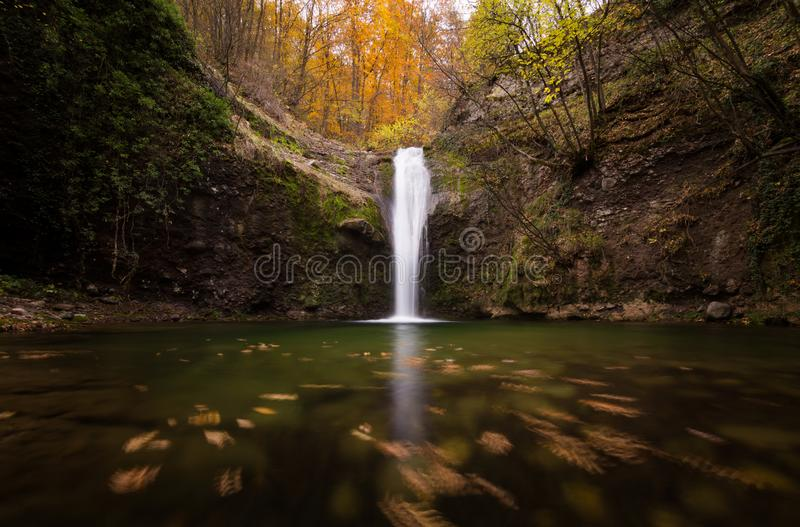 Low Angle Photo of Waterfalls Surrounded by Trees royalty free stock photography