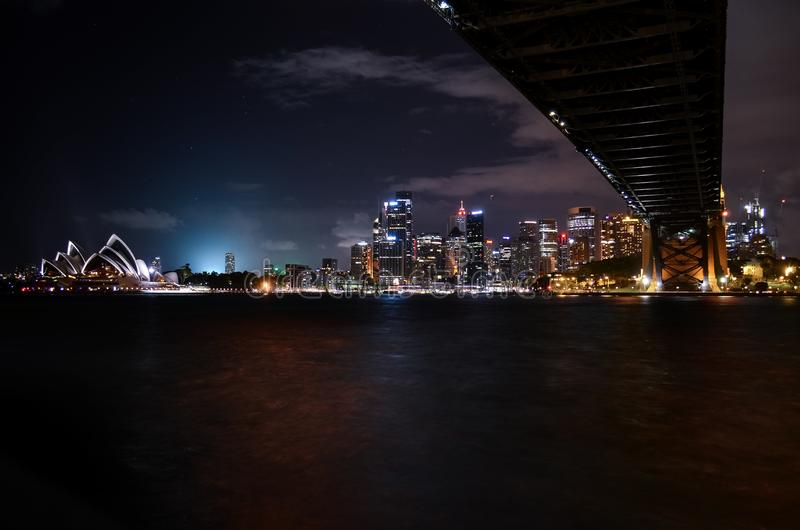 Low-angle Photography of Lighted City Landscape royalty free stock photo