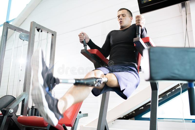 Adaptive Sportsman in Gym stock photography