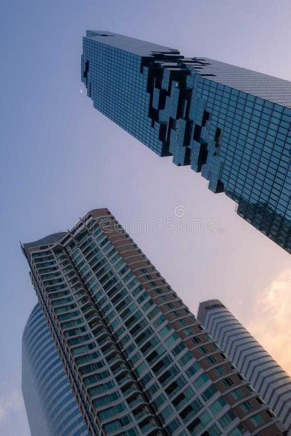 Low angle of residential building and office buildings stock photography