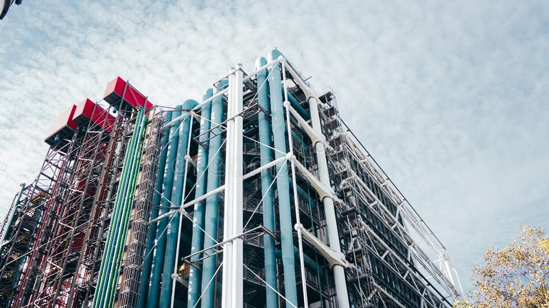 Low angle shot of the architectural building on The Centre Pompidou library in Paris, France royalty free stock photos